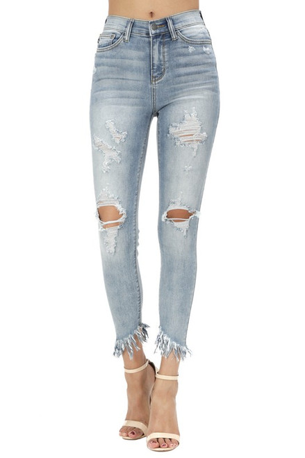 The Ginny Jeans | Distress Fray High Waisted Skinnies
