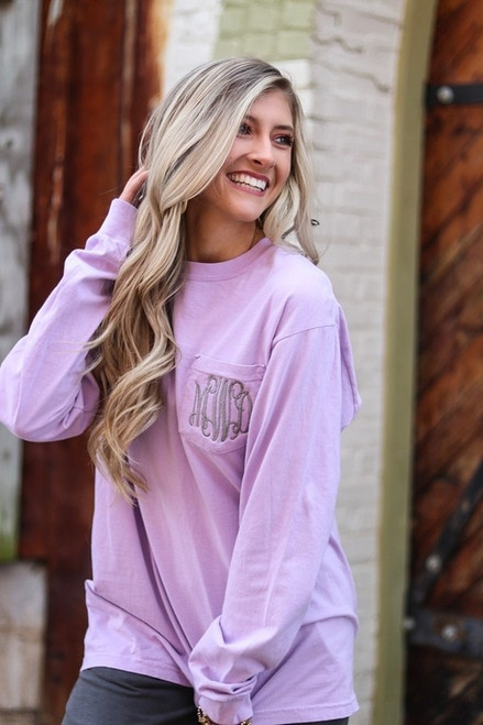 Monogrammed Comfort Colors Pocket Tee | Long Sleeve | Orchid