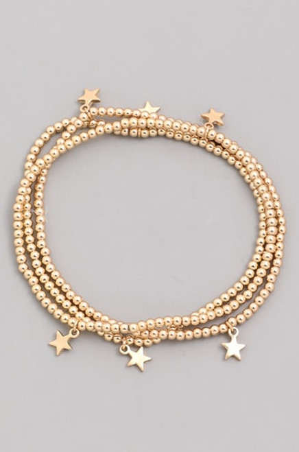 Set of 3 Beaded Star Bracelets | Gold