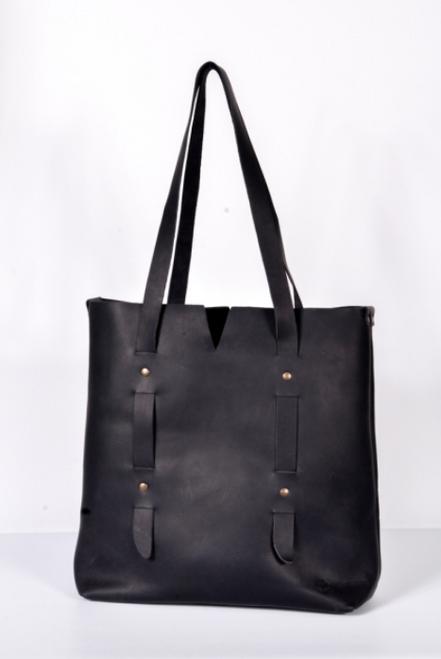 Oak River | Leather V Tote Bag | Black