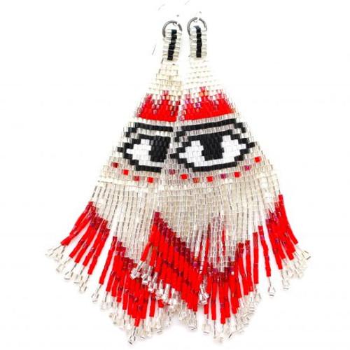 Karli Buxton | Confetti Earrings with Eye | Red, Black, White