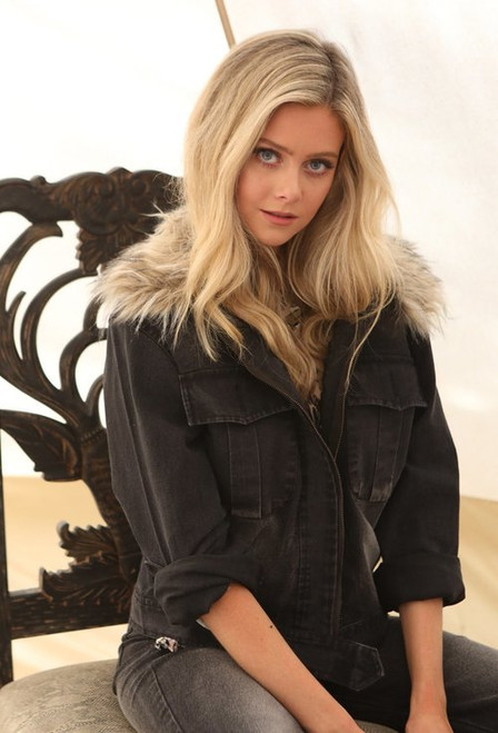 Judith March | Stretch Black Wash Denim Jacket with Removable Fur Collar