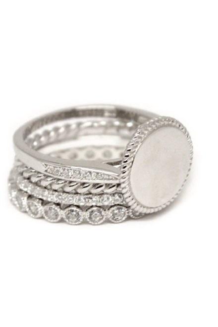 Monogrammed Sterling Silver Stackable Rings