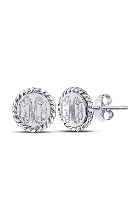 Monogrammed Sterling Silver Round Rope Studs