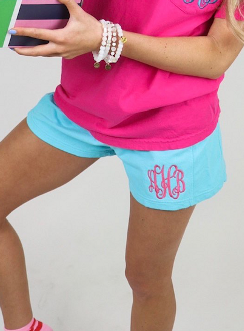 Monogrammed Comfort Colors Shorts | Lagoon Blue