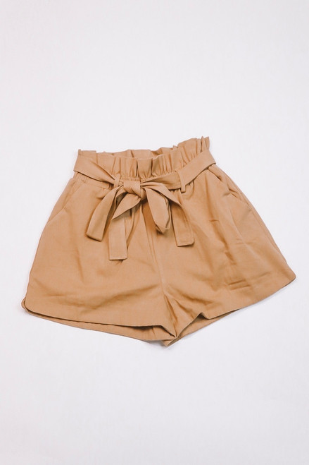 Tie Front Shorts | Camel