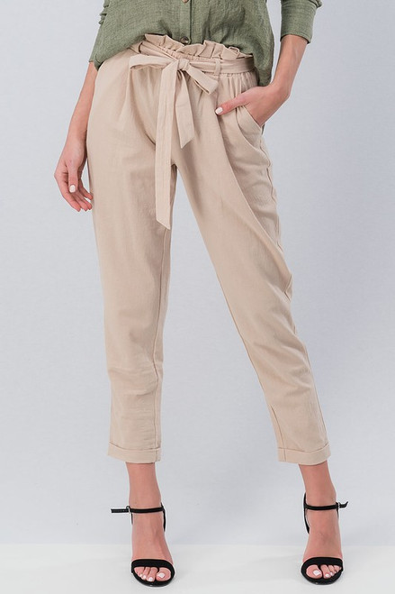 All Put Together | Khaki Tie Front Pants