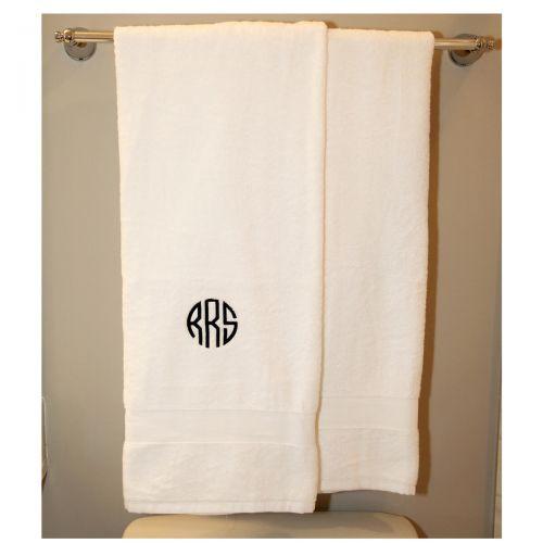 Monogrammed Luxury White Bath Towel Set