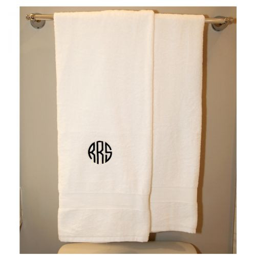 Monogrammed Luxury White Bath Towels