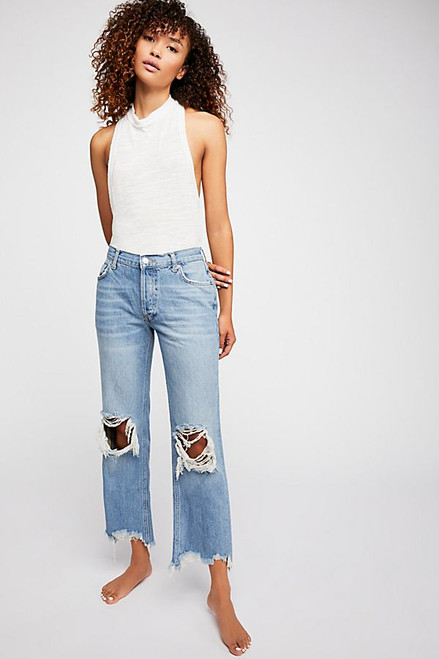 Free People | Maggie Mid-Rise Straight-Leg Jeans | Light Tone Wash