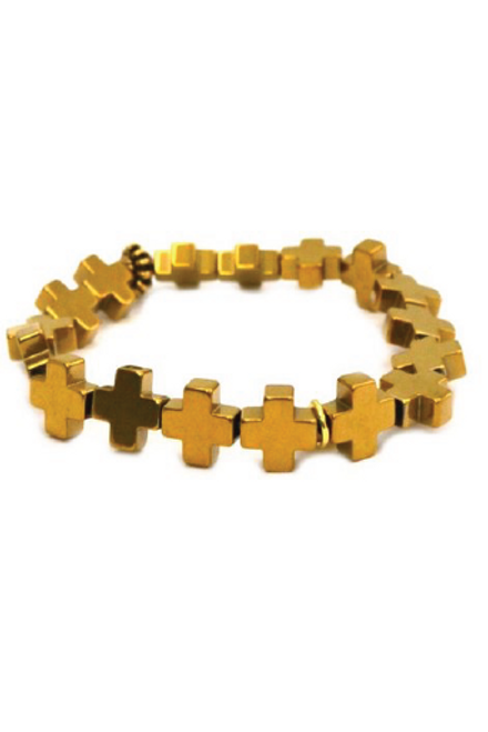 Betsy Pittard | Hematite Cross Bracelet in Gold