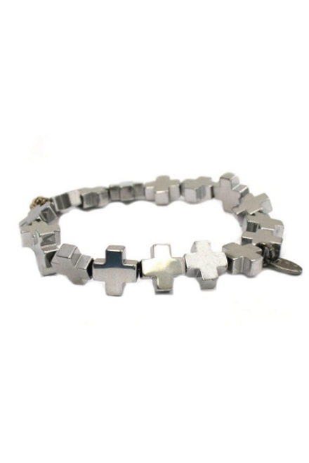 Betsy Pittard | Hematite Cross Bracelet in Silver