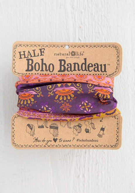 Natural Life | Half Boho Bandeau | Purple Border