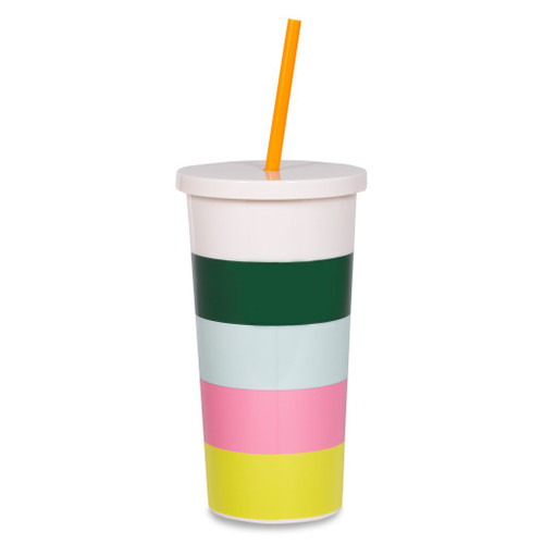Kate Spade New York   Stripe Insulated Tumbler With Straw