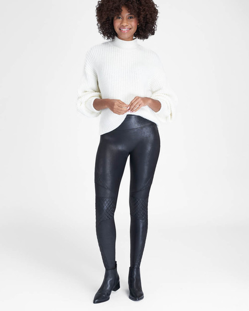 Spanx | Quilted Faux Leather Leggings | Black