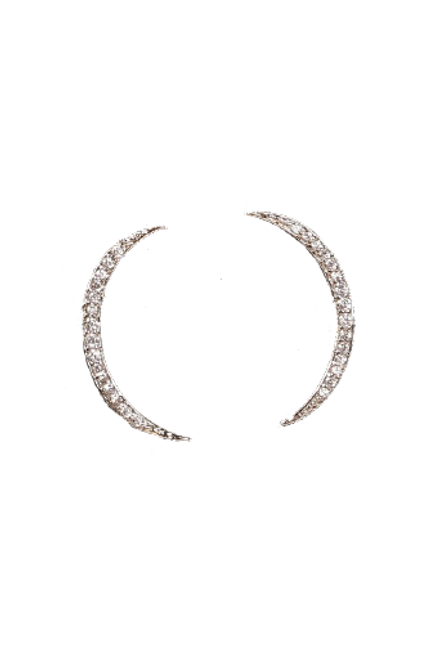 White Gold New Moon Earrings