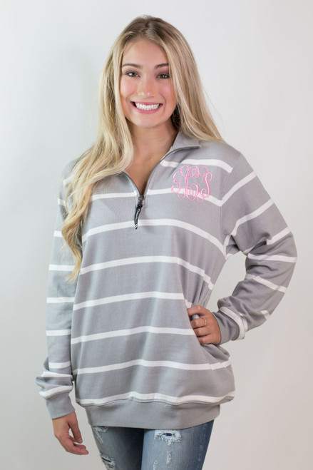 Charles River | Monogrammed Grey and White Striped Crosswind Pullover