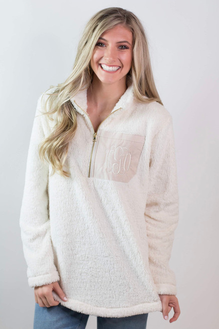 Monogrammed Sherpa Fleece Pullover  | Ivory