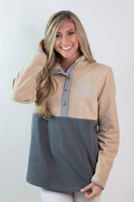 Ginny Marie's Monogrammed Color Block Snap Pullover