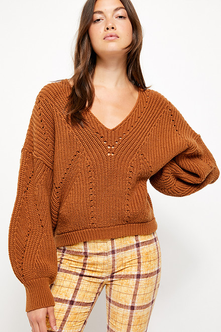 Free People | All Day Long V Sweater | Brown