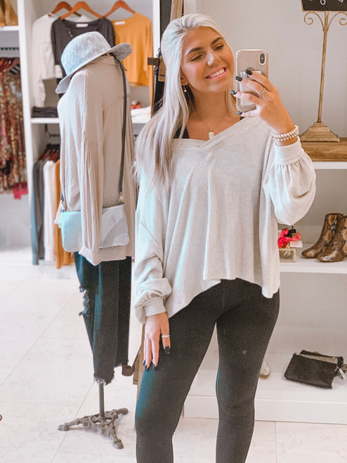 Brooke's Selfie at our Marietta location >> wearing our Here She Comes Oatmeal V-Neck Top
