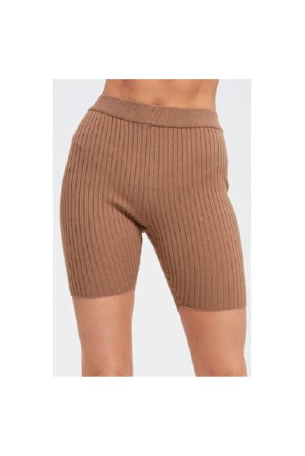 Knit Biker Shorts | Brown