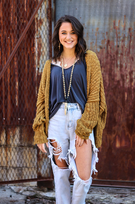 Soft Mustard Cardigan pictured with Charcoal Top & Ripped Jeans