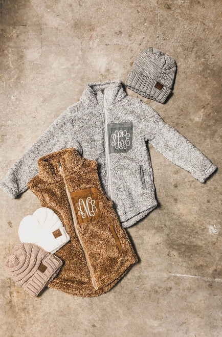 Youth sherpa jacket, vest, beanie shown in picture