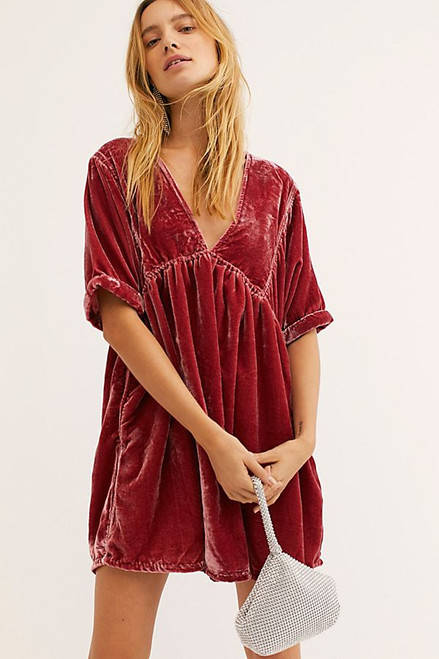Free People | Ivy Velvet Mini Dress | Rose