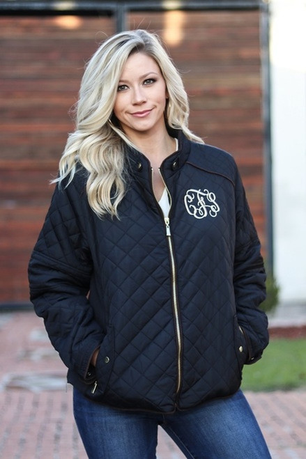 Monogrammed Quilted Jacket in Black