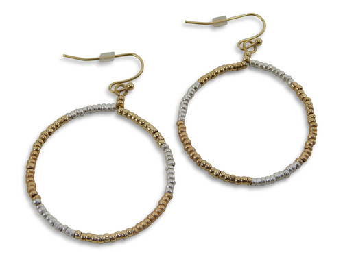 Silver and Gold Beaded Hoop Earrings