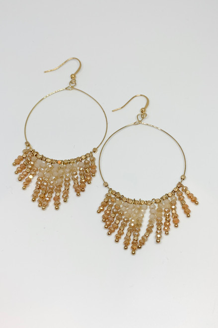 Beaded Dangle Hoop Earrings