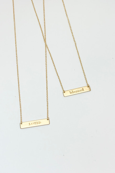 Blessed Gold Rectangle Necklace
