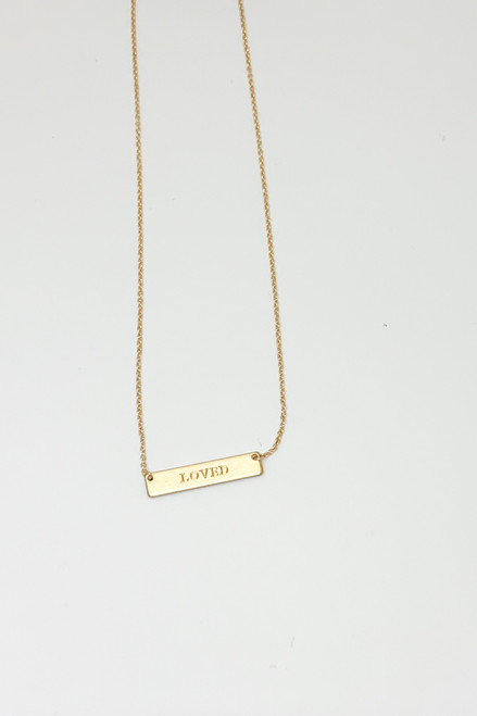 Loved Gold Rectangle Necklace
