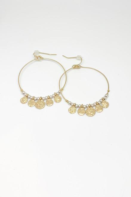 Beaded Pearl and Gold Coin Hoop Earrings