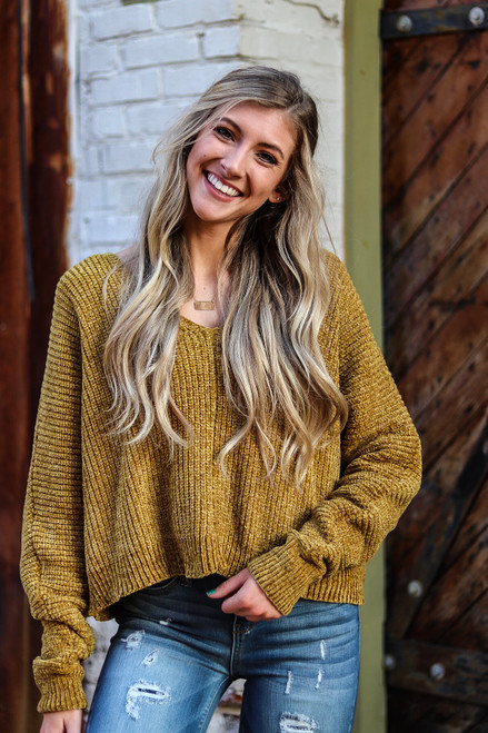 All My Life | V-Neck Sweater in Mustard