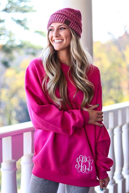 Monogrammed Hot Pink Sweatshirt & Matching Beanie