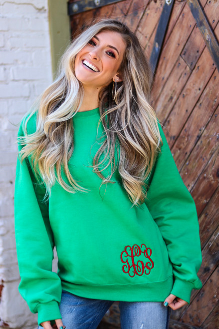 Kelly Green Sweatshirt with Red Vine Bold Monogram