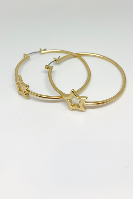 Magic Night | Gold Hoops with Star Detail