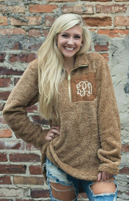Monogrammed Mocha Sherpa Fleece Pullover Jacket at Ginny Marie's Best Place for Monogramming in Macon Georgia