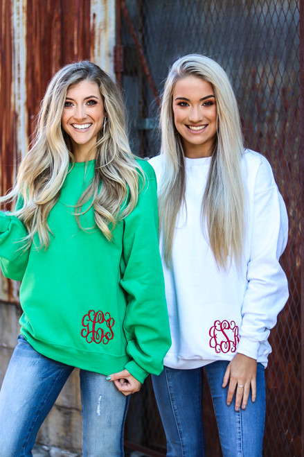 Monogrammed Sweatshirt at Ginny Marie's Best Place for Monogramming in Macon Georgia
