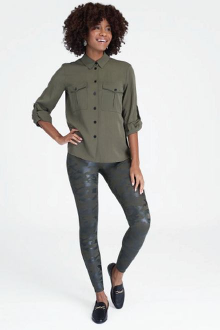 Spanx | Faux Leather Camo Leggings | Matte Green
