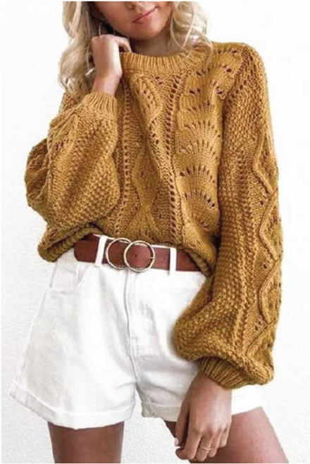 Flashlight Loose Sleeve Knitted | Yellow