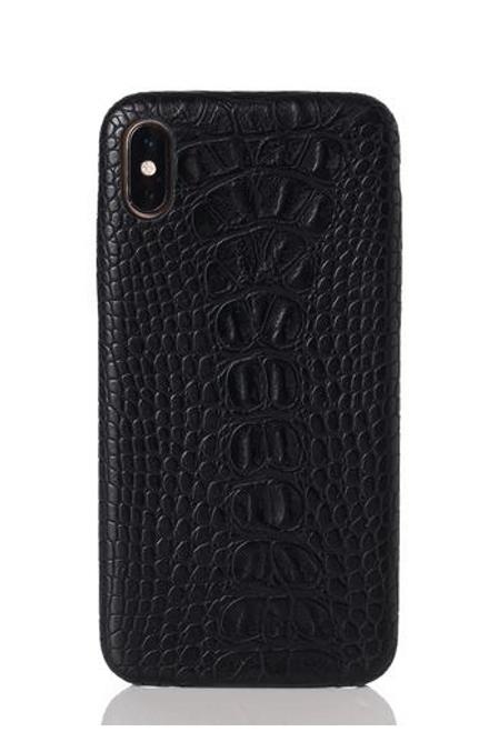 Black Faux Crocodile iPhone Case