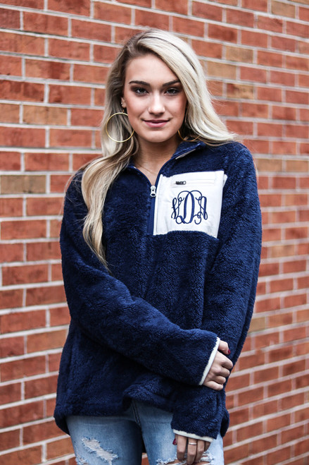Monogrammed Navy Sherpa Pullover Jacket at Ginny Marie's Ladies Boutique in Macon Georgia