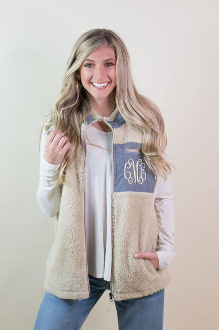 Ginny Marie's Monogrammed Fleece Kiddos Vest | Navy