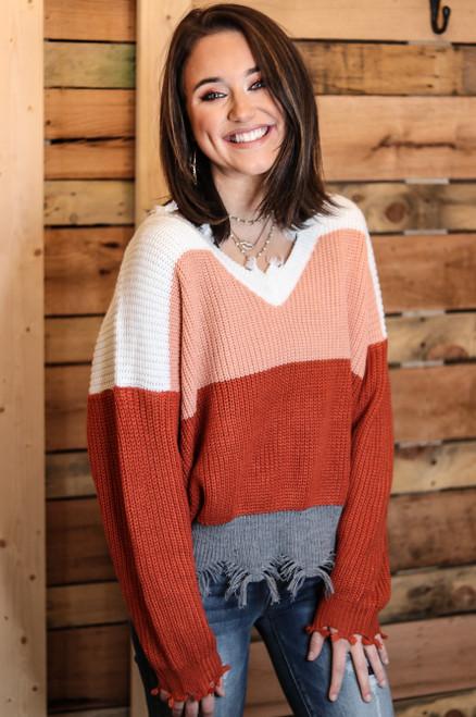 Raw Edge Knit Sweater | Salmon