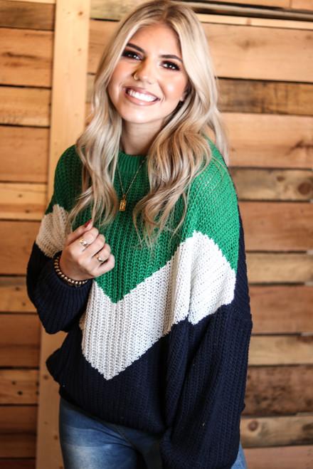 Color Block Zig Zag Sweater   Green