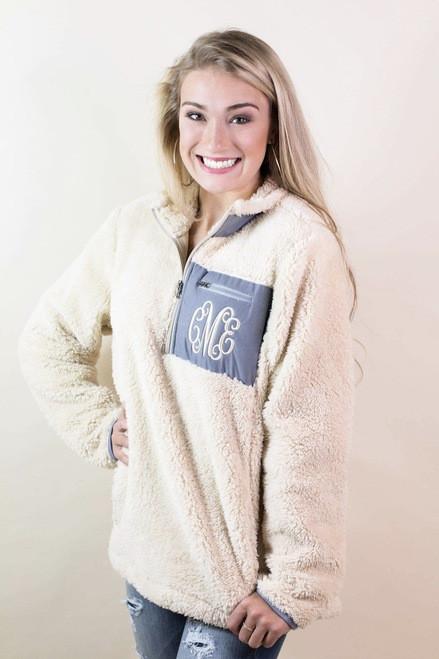 Ginny Marie's Monogrammed Fleece Kiddos Pullover | Cream