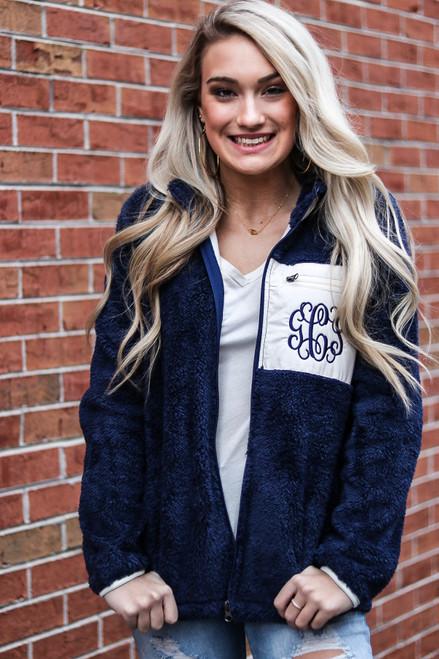 Navy Sherpa Fleece Fullzip Jacket with Monogram in Vine Bold Font with Navy Thread